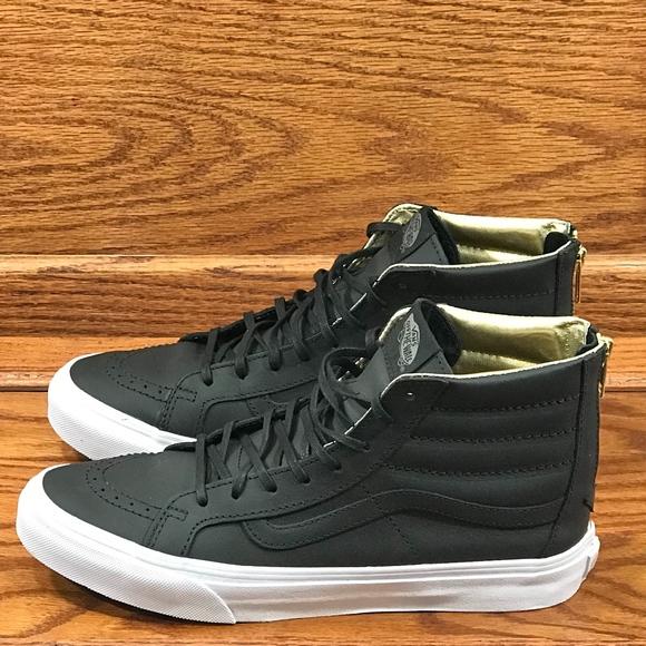 0af5be59d5 Vans Sk8 Hi Slim Zip Leather Black Gold Shoes